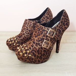 G by Guess Varian Studded Leopard Print Stilettos